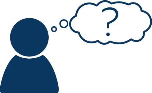 blue stick figure with thought bubble around a question mark